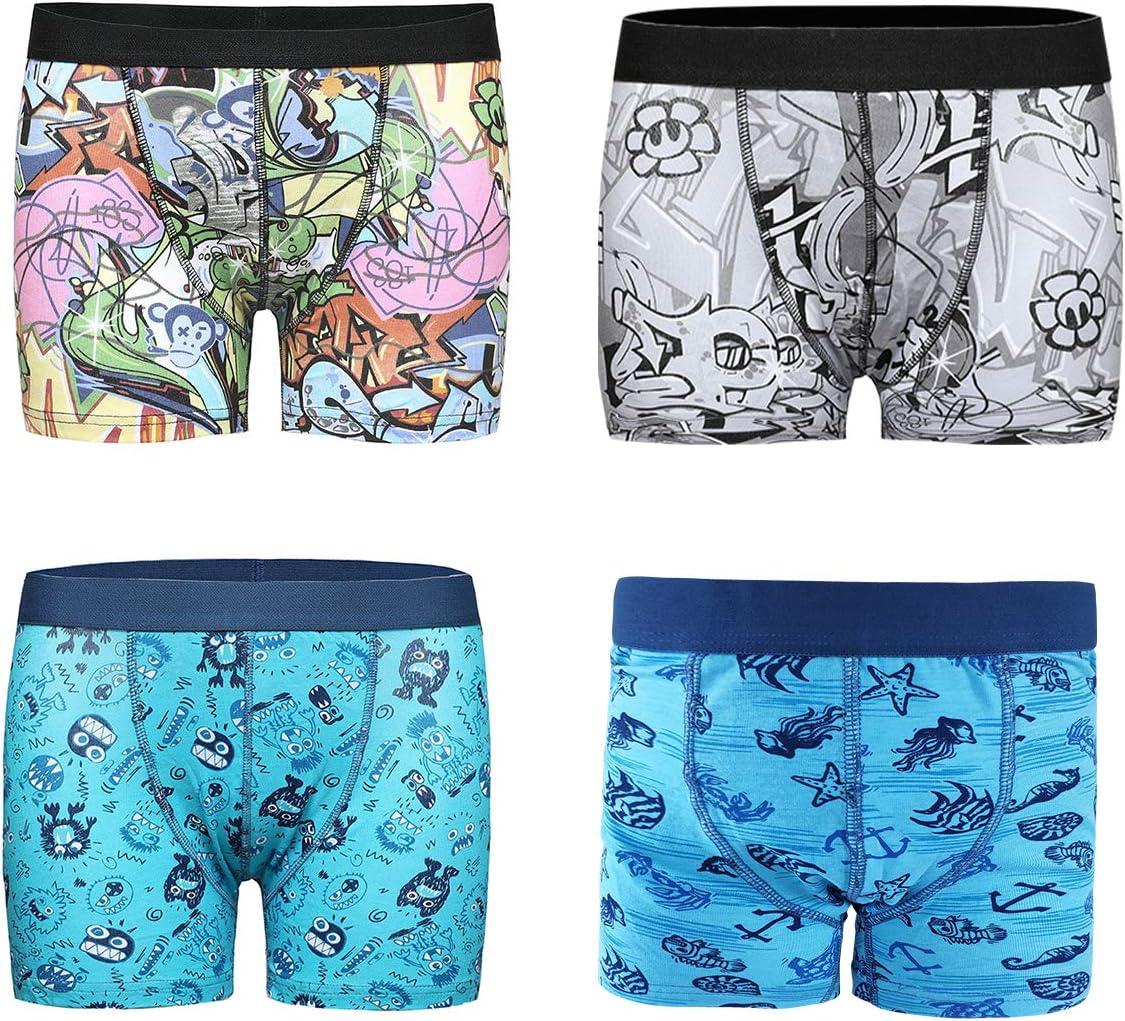 Boys Boxer Brief 4PCS Boxer Shorts Children Trunk Super Soft Underwear 9-10 Years