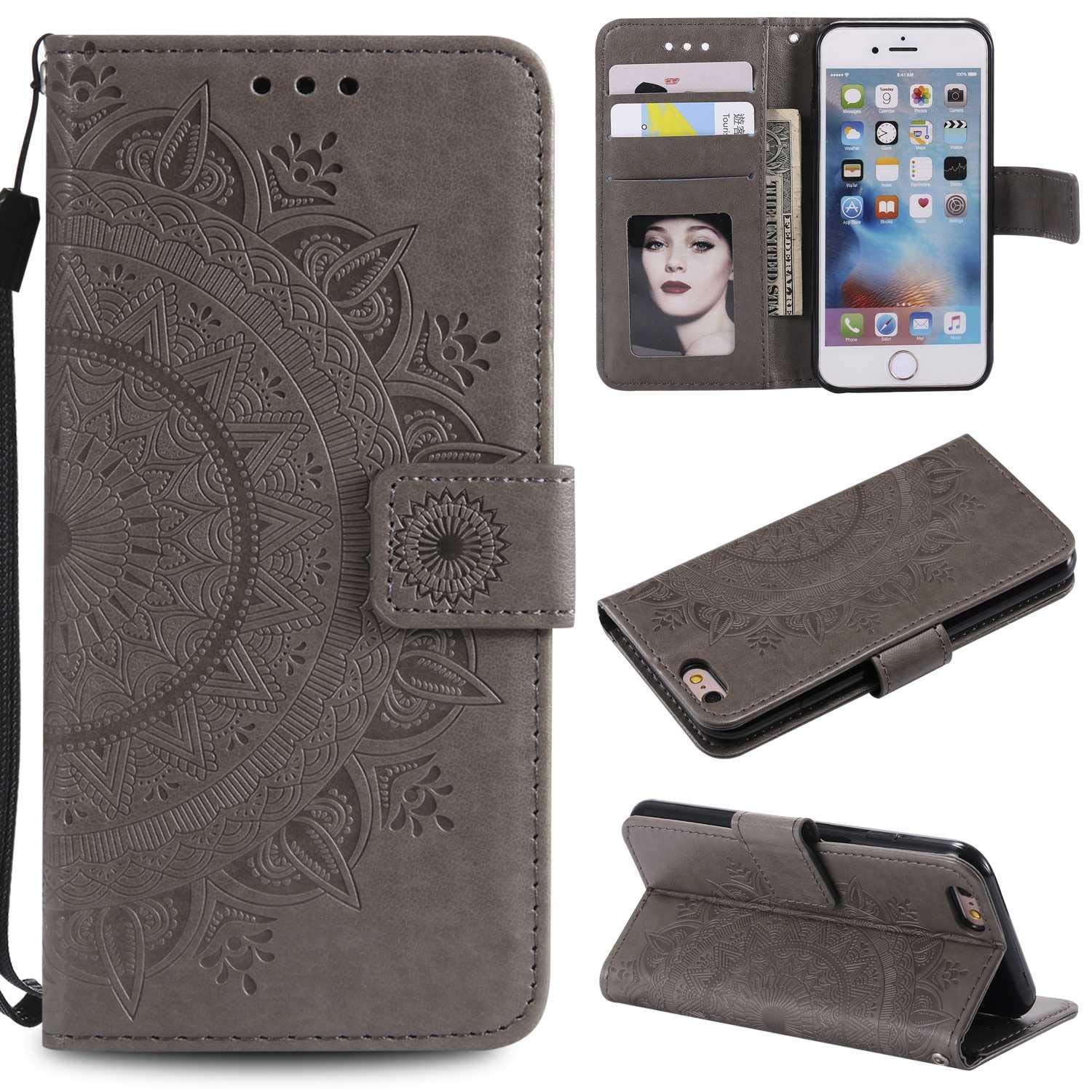 Case iPhone X/Xs, Bear Village PU Leather Embossed Design Case with Card Holder and ID Slot, Wallet Flip Stand Cover for Apple iPhone X/iPhone Xs (#6 Gray)