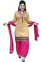 OSLC Chiku cotton patiala Salwar Suit Women's Cotton Patiala Salwar Bottoms Blue Designer Cotton Semi-stitched Salwar Suit