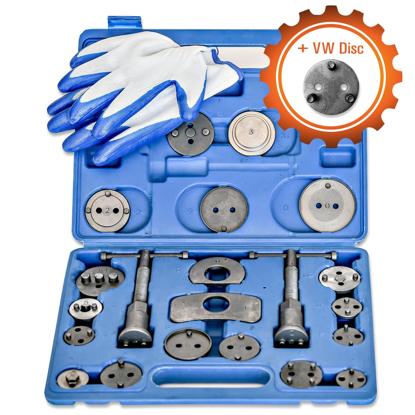 Grit Performance [24 Piece] Heavy Duty Disc Brake Caliper Tool Set and Wind Back Kit for Brake Pad Replacement   Fits Most American, European, Japanese Makes/Models