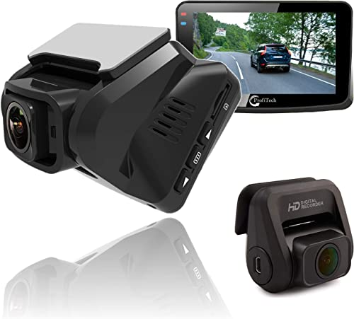 Dual Dash Camera Front and Rear for Cars, ProfiTech Dual Lens Full HD 1080P Car Dash Cam 170 Wide Angle G-Sensor WDR Clear Night Vision External GPS Motion Detection Loop Recording SuperCapacitor