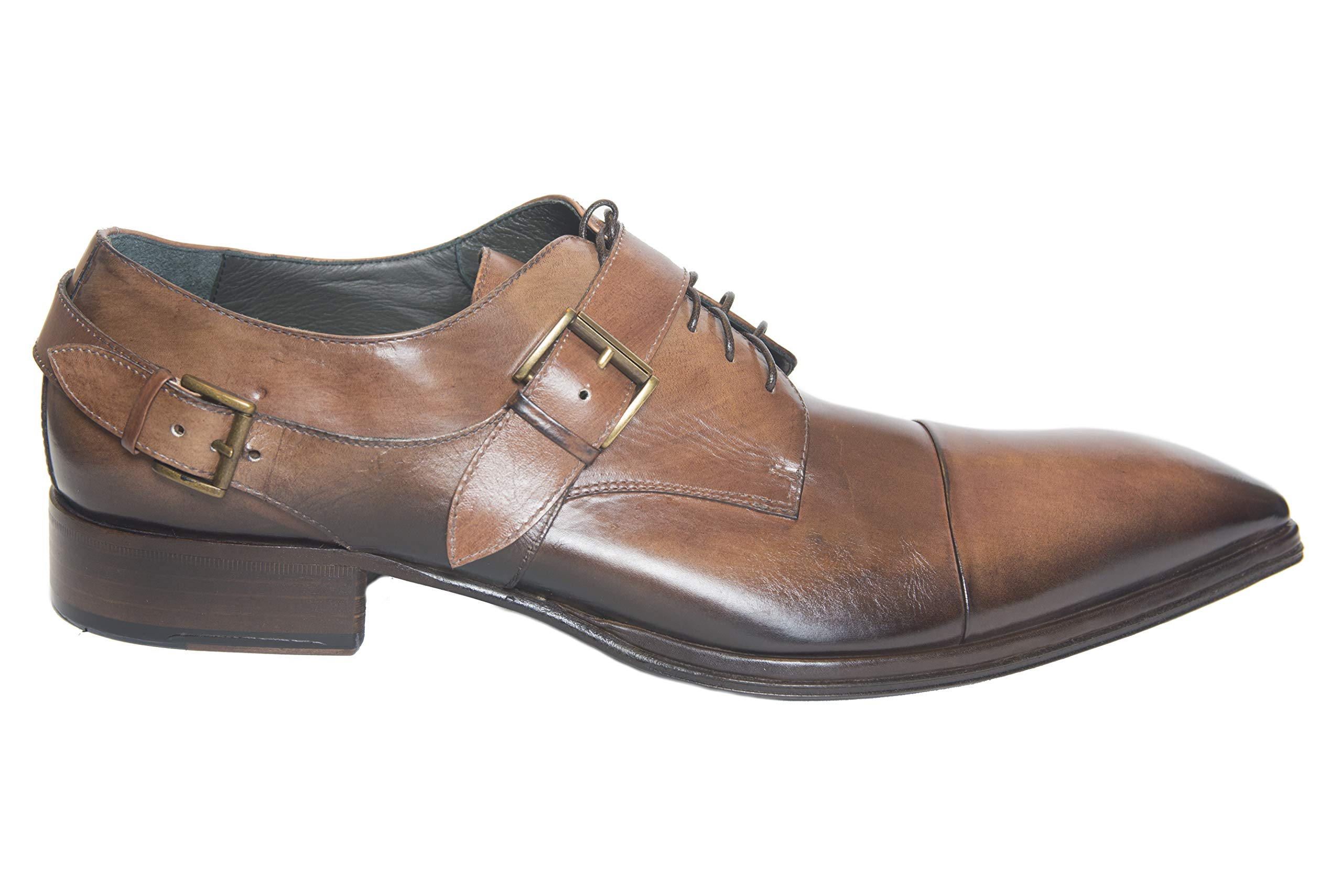 Jo Ghost 1523 Italian Mens Brown Leather Shoes with Buckle and Laces