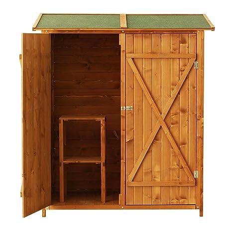 Outsunny - Caseta armario, portaherramientas para exteriores, de madera - Trastero para jardín -