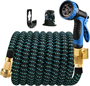 Expandable Garden Hose 25ft - Flexible Water Hose with 10 Functions Spray Nozzle, Leakproof Expanding Outdoor Yard Hose with 3/4