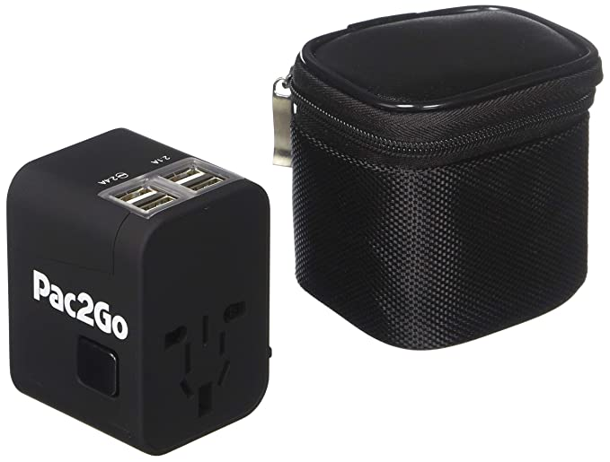 Amazon.com: Pac2Go Universal Travel Adapter with Quad USB Charger ...