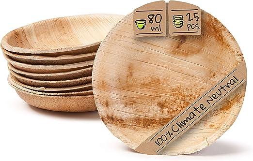 BIOZOYG Set Cuencos Snacks I 25 Piezas orgánicas Desechables de ...