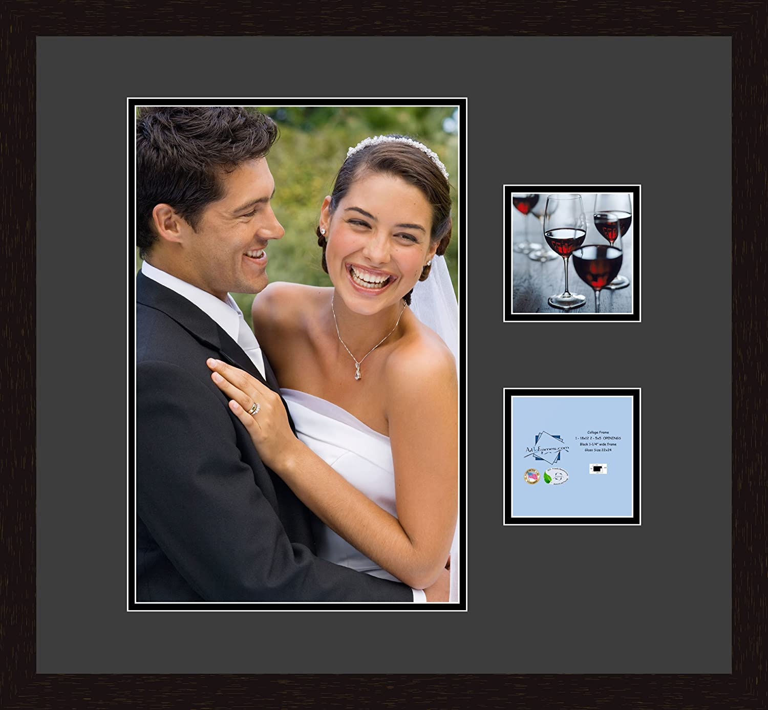 Art to Frames Double-Multimat-483-89//89-FRBW26061 Collage Frame Photo Mat Double Mat with 1-12x18 and 2-5x5 Openings and Espresso Frame