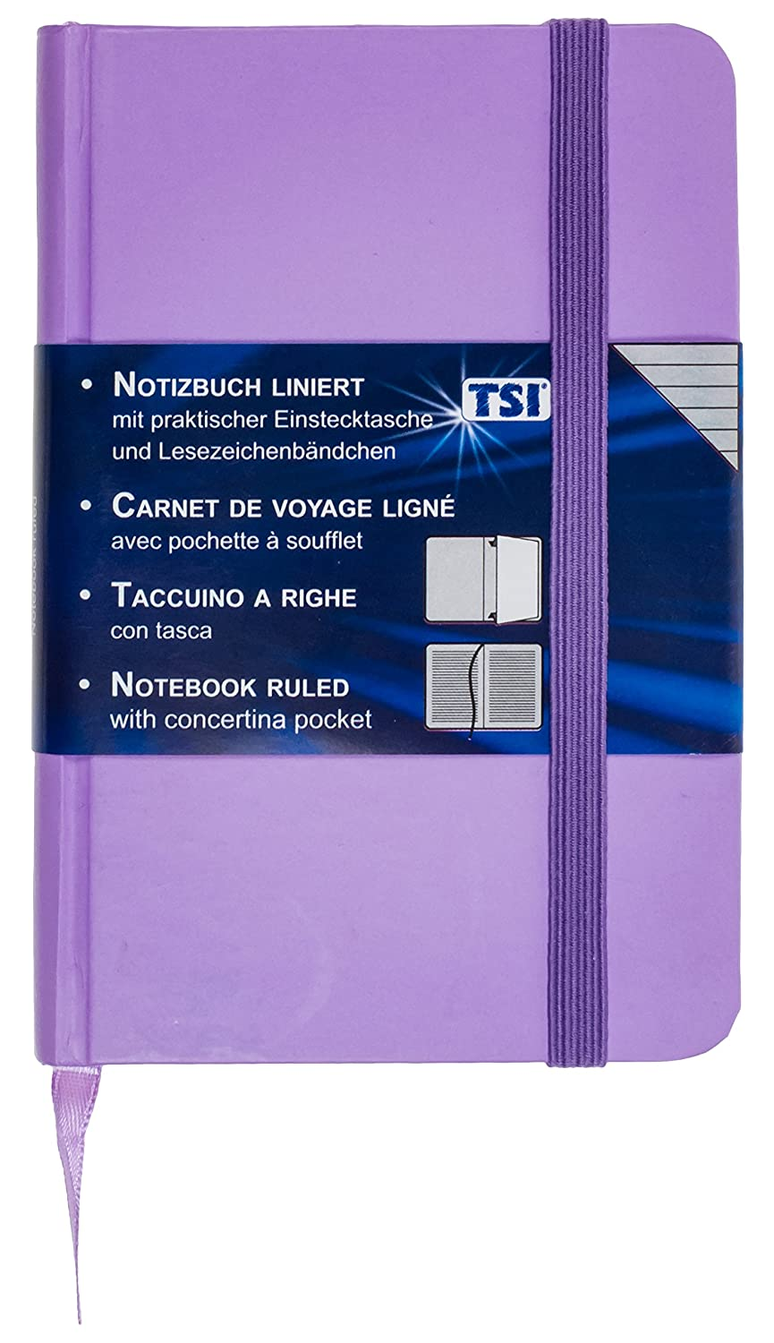 TSI 63566Ruled Notebook 192Pages 93x 140mm, Purple
