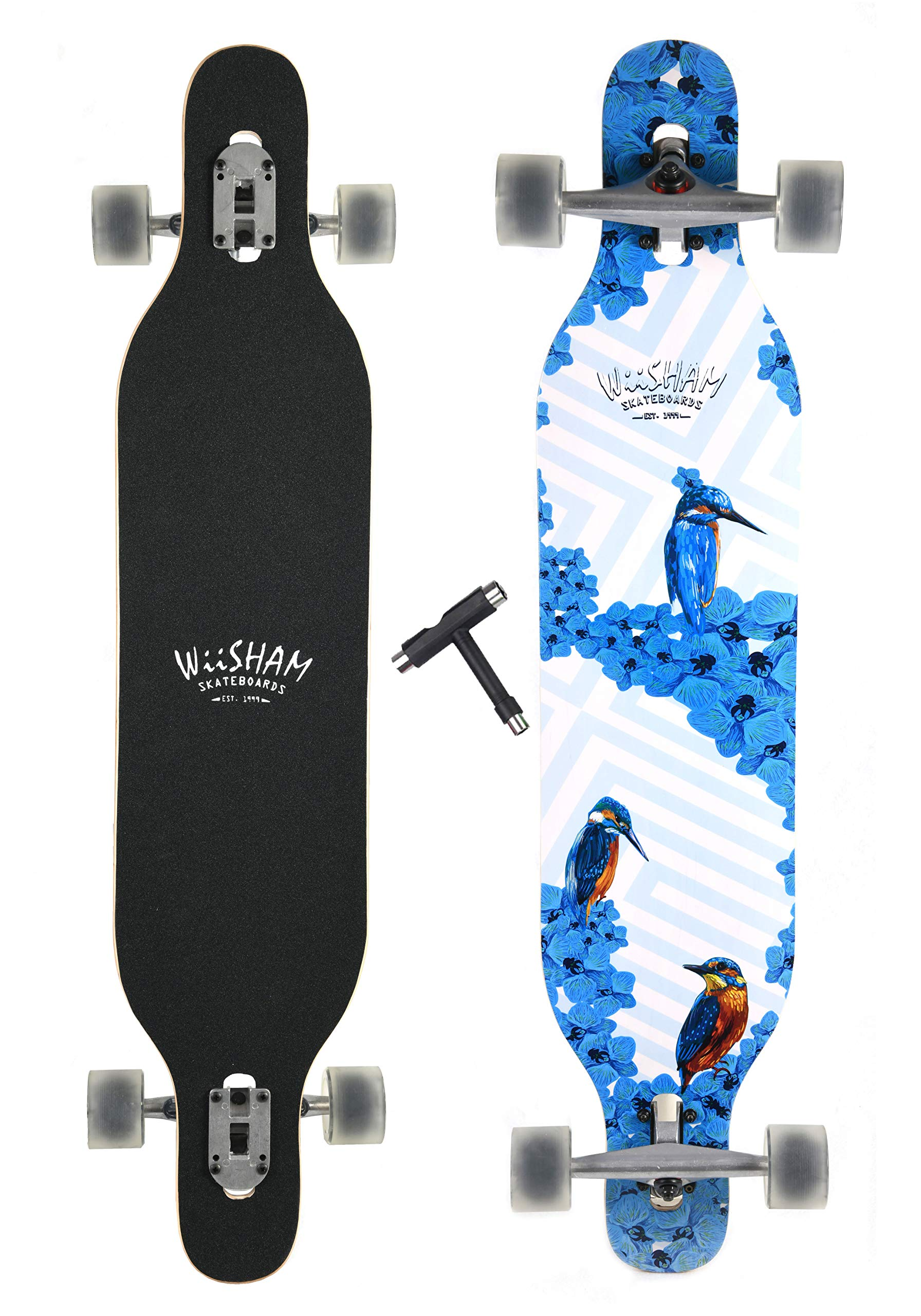 WiiSHAM Professional Speed Downhill Drop Through Complete Longboard Skateboard With Free T-tools …