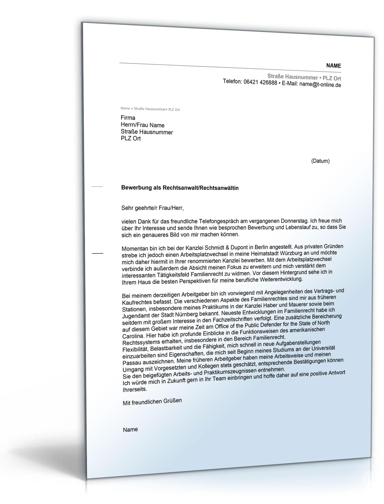 Anschreiben Bewerbung Rechtsanwalt [Word Dokument]: Amazon.de
