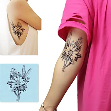 503dc981d4bfe Amazon.com : DaLin 4 Sheets Sexy Temporary Tattoos for Women Flowers  Collection (Wild Chrysanthemum Flower) : Beauty