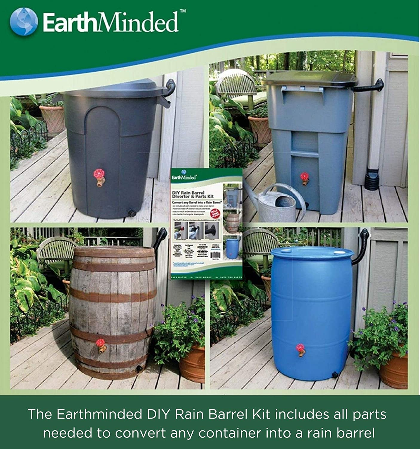 Earthminded Diy Rain Barrel Diverter And Parts Kit Water Collection System To Convert Containers Into Rain Barrels Catch Rain Water For Outdoor