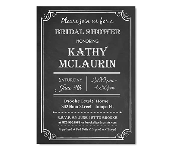 Amazon chalkboard bridal shower invitation black and white chalkboard bridal shower invitation black and white bridal shower invitations chalkboard bridal shower invite filmwisefo