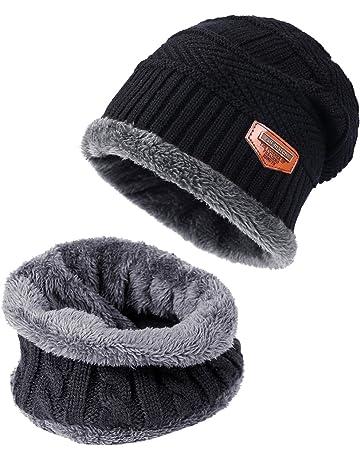 9888f5754e61 TAGVO Bonnet Chapeau Écharpe d hiver 2Pcs Ensemble Doublure Molleton  Polaire Doux, Beanie Cap