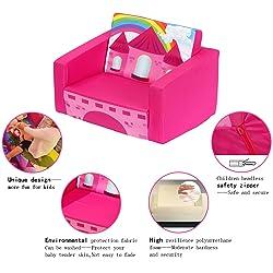 MallBest Children's Flip Open Sofa Bed Kids Upholstered Foam Chair Toddler Recliner (Rose red/Castle)