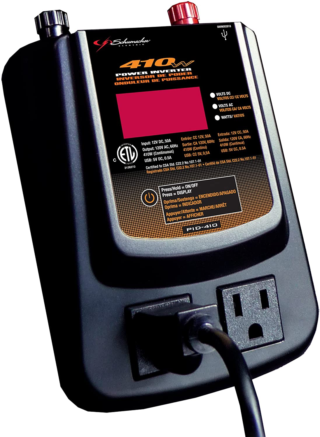 Schumacher PID-410 410 Watt Power Inverter with Digital Display: Automotive