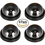 JOOAN 4 Pack Fake/Dummy Dome Security Camera Hemisphere Type Home/Store Surviellance Equipment with Twinkle Red Led