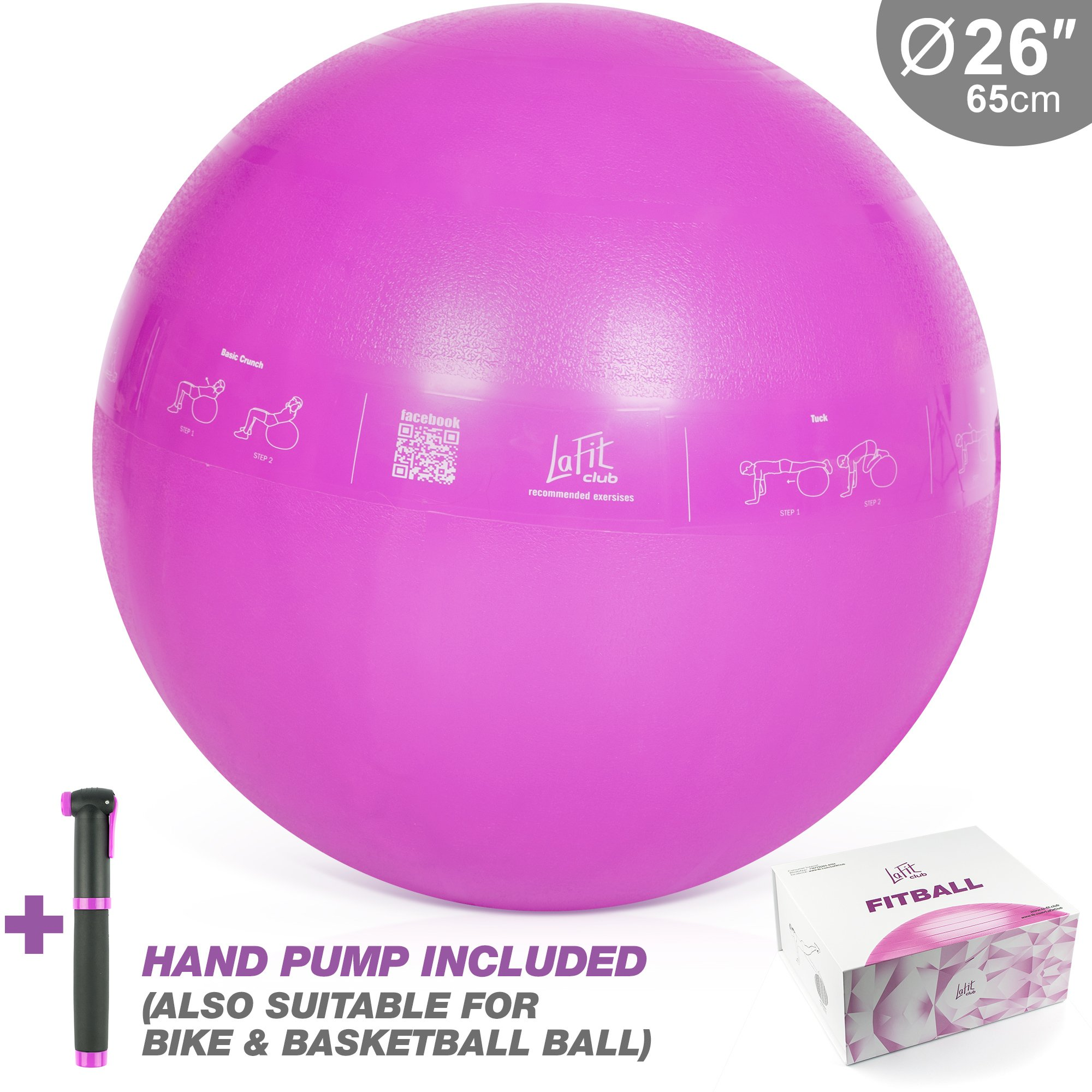 LAFIT CLUB 65 cm Pink Exercise Ball - Yoga Ball with Pump - Gym Ball for Yoga - Stability Swiss Sitting Fit Ball - Ball for Workout and Gym