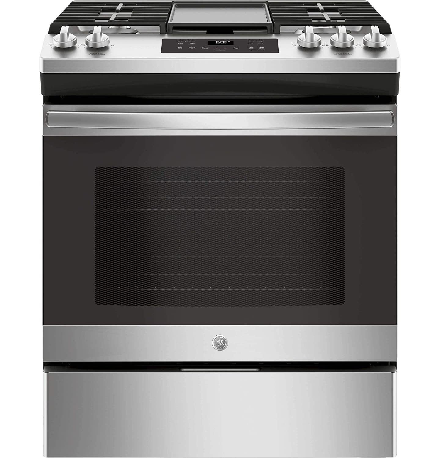 GE JGSS66SELSS 30 Inch Slide-in Gas Range with Sealed Burner Cooktop, 5.6 cu. ft. Primary Oven Capacity, in Stainless Steel (Certified Refurbished)