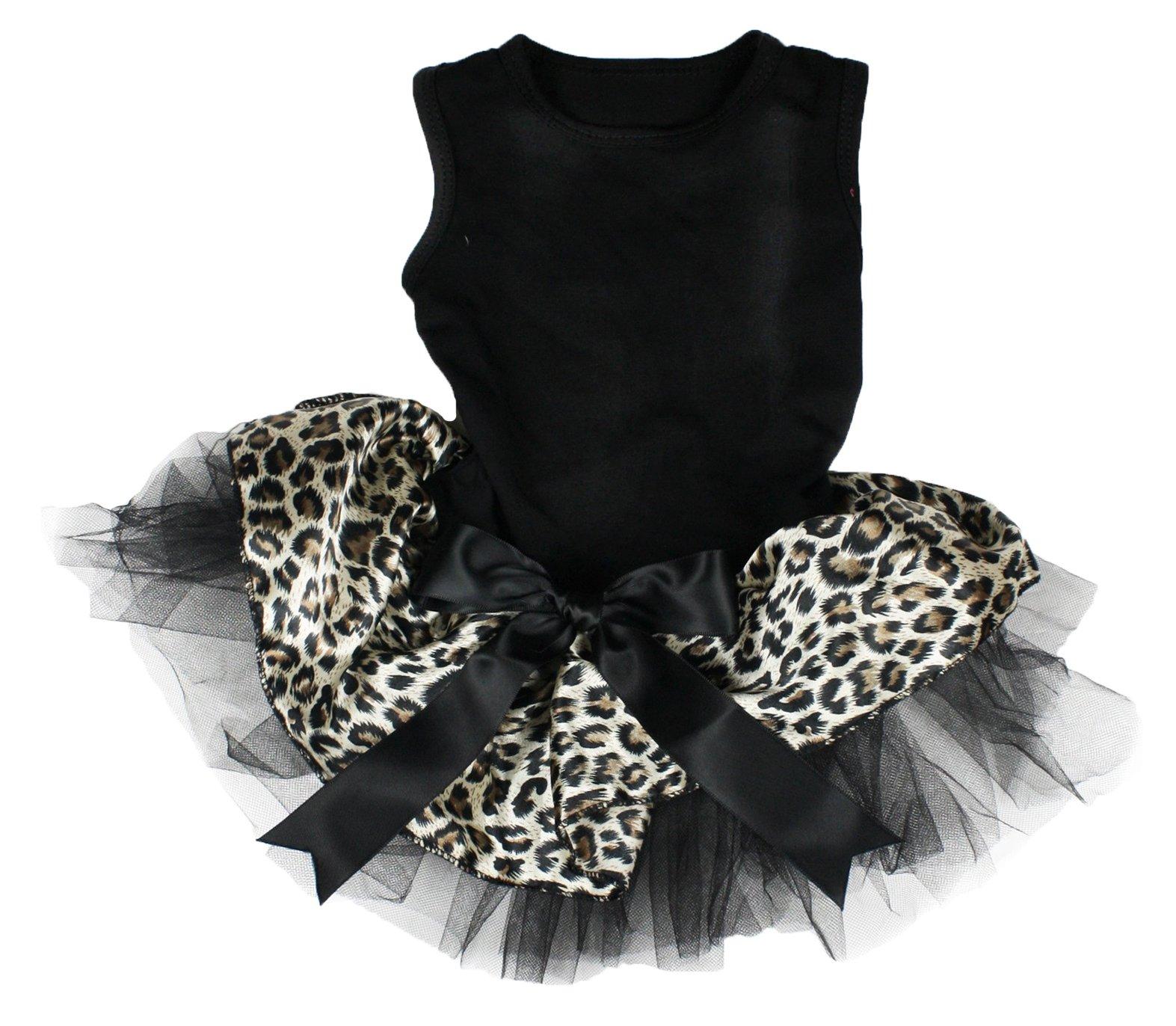 Petitebella Black Cotton Shirt Leopard Tutu Puppy Dog Dress (Large)