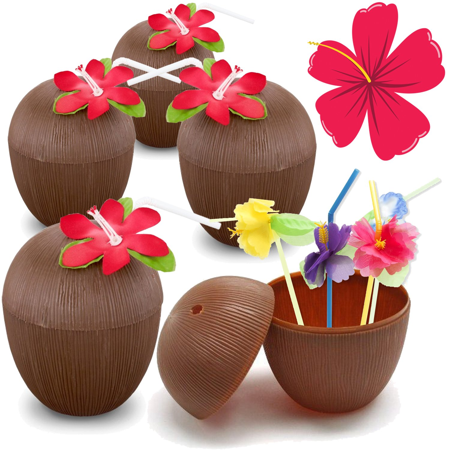 Hogue WS LLC Plastic Coconut Cups For Fun Hawaiian Luau Children's Parties – Bulk 10 Pack – Comes With Straw And Flower – Tiki And Beach Theme Party Supplies (10 Cups + Straws)