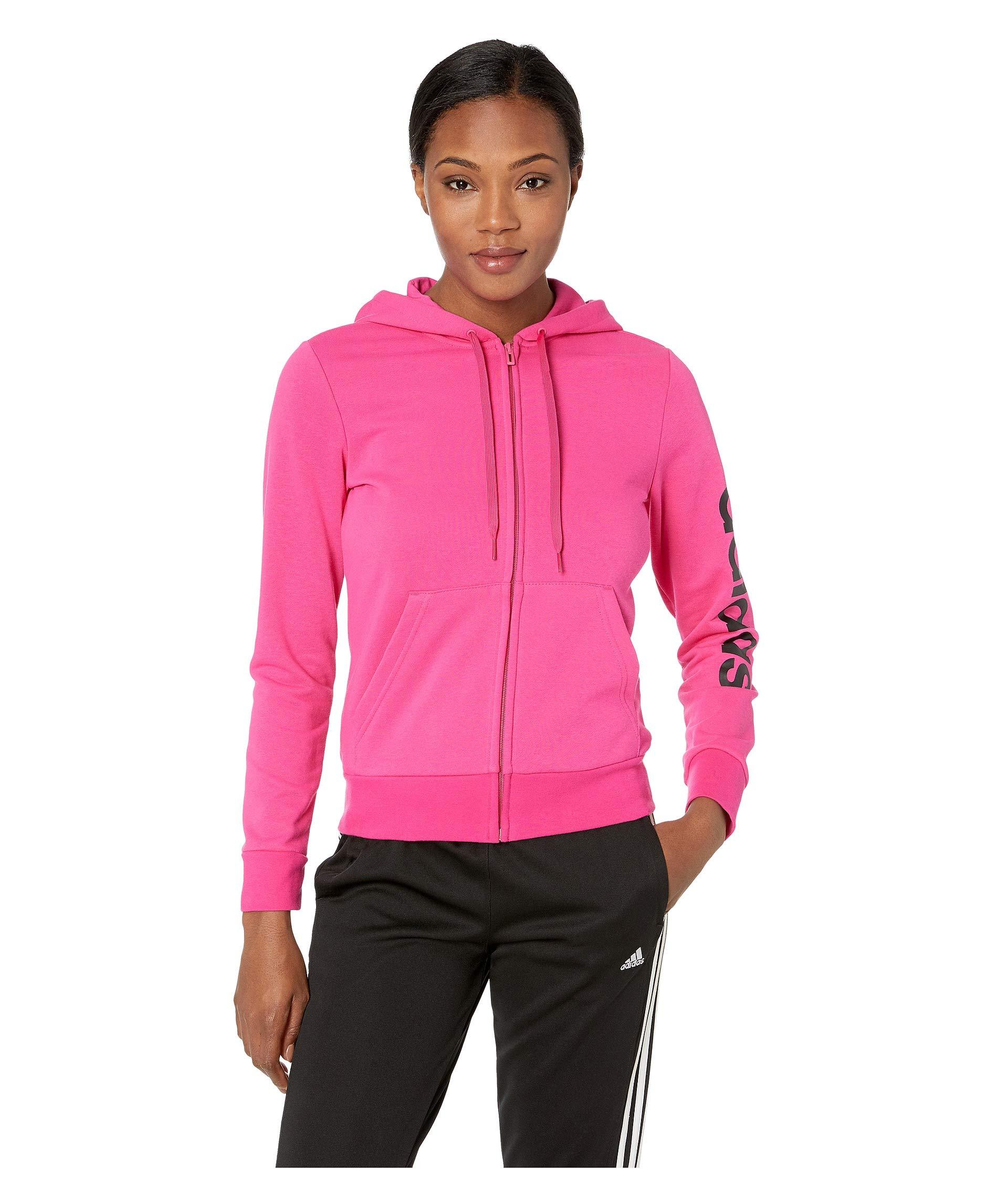 adidas Women's Essentials Linear Full-Zip Hoodie, Real Magenta/Black, Large by adidas