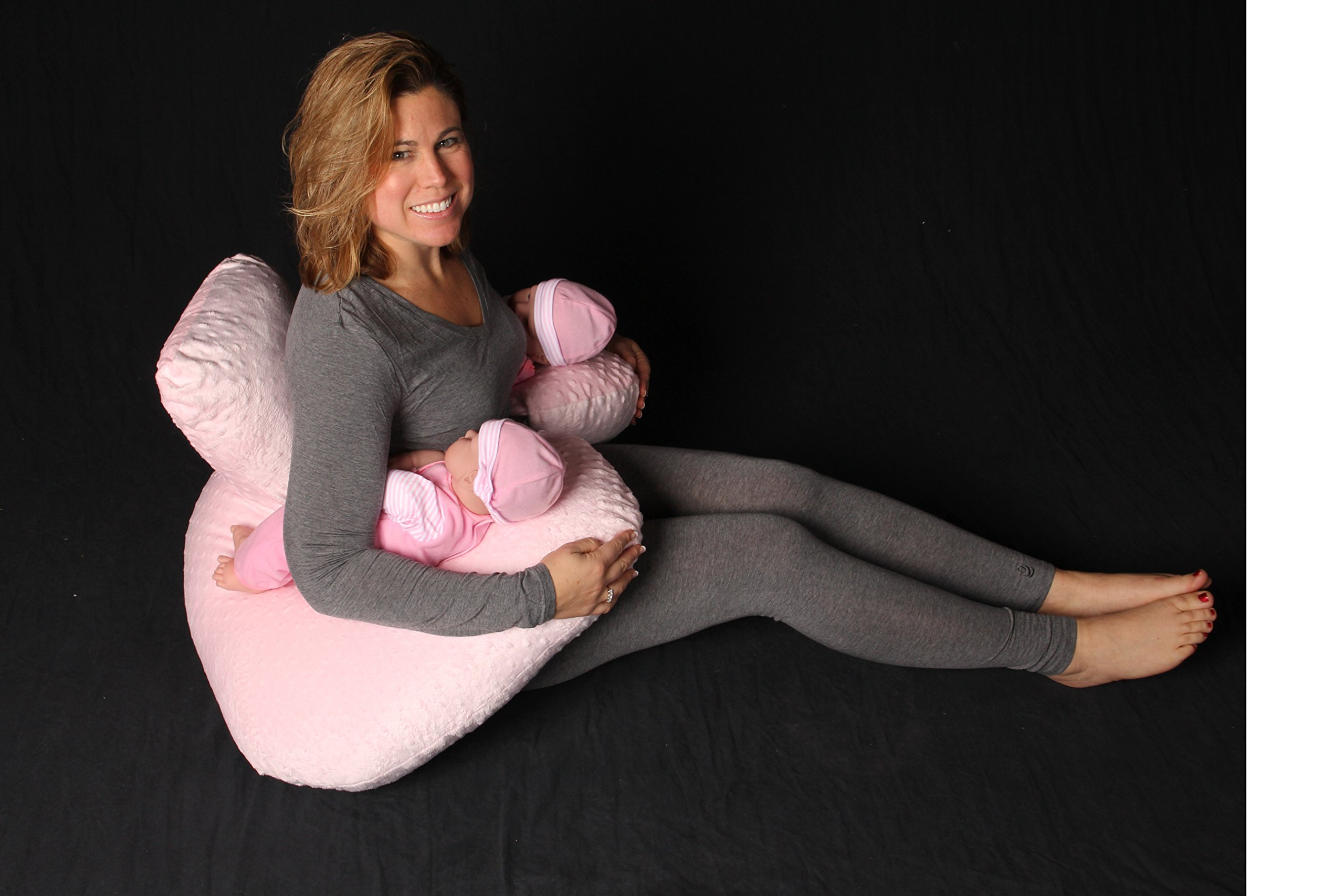 THE TWIN Z PILLOW - PINK The only 6 in 1 Twin Pillow Breastfeeding, Bottlefeeding, Tummy Time & Support! A MUST HAVE FOR TWINS! - CUDDLE PINK DOTS by Twin Z PIllow (Image #4)