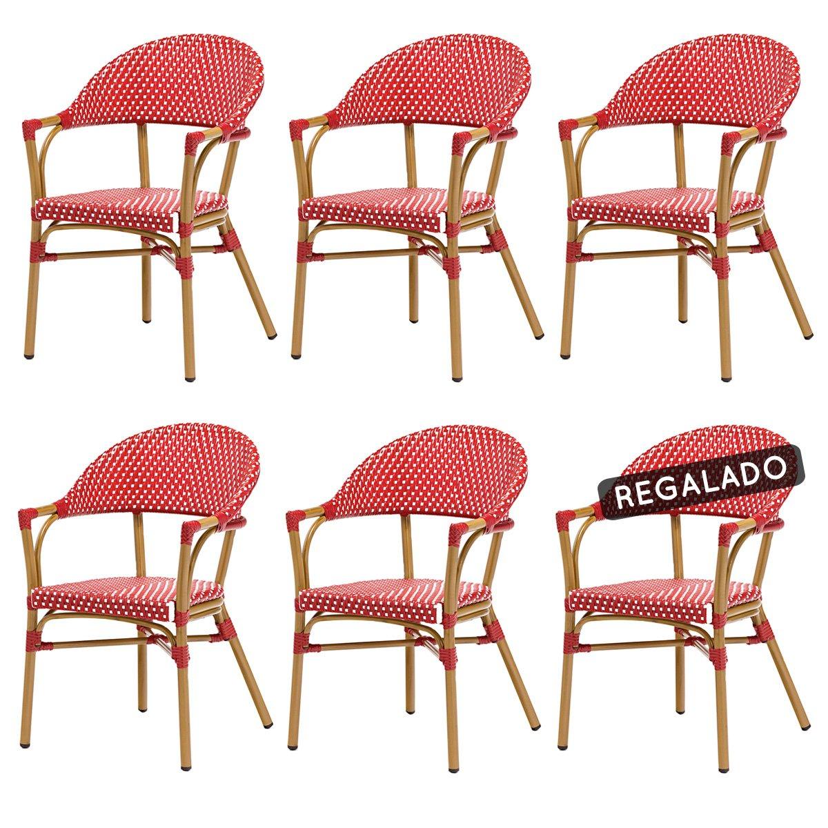 Rotin Design Lote 6 sillones Bistro Rojos - Aluminio y ...
