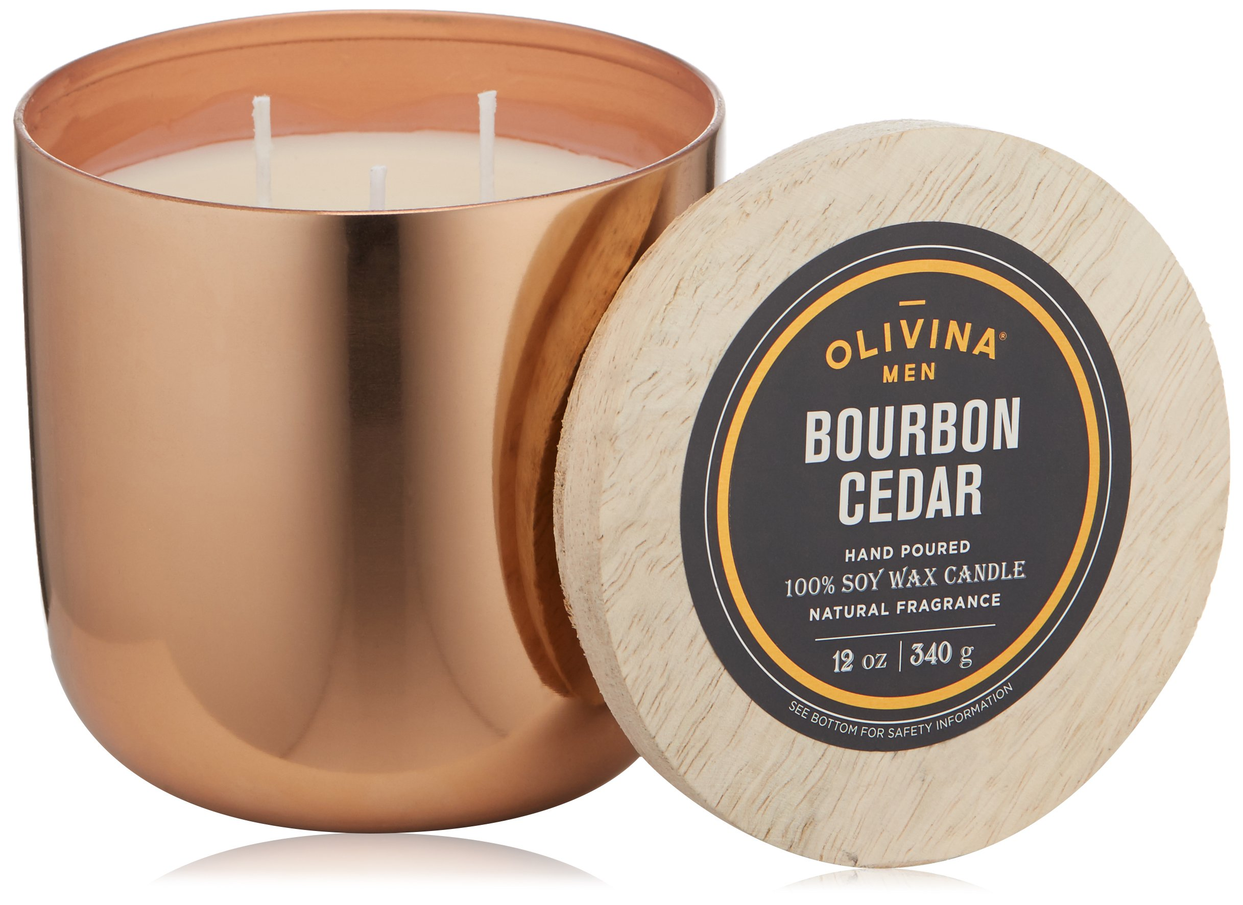 Olivina Men Soy Wax Candle Copper, Bourbon Cedar, 12 oz.