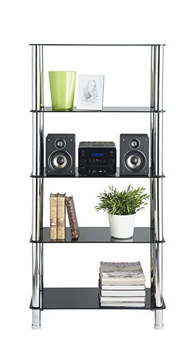 Amazon.com: VonHaus 5 Tier Black Glass Shelving Unit with Sturdy Chrome Tube Legs & Tempered Glass: Kitchen & Dining