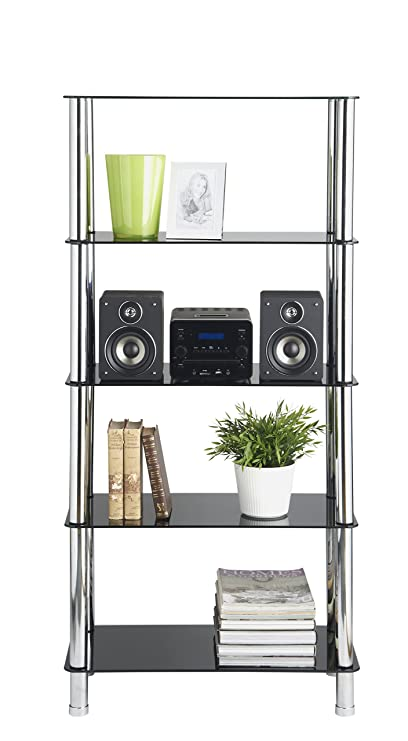 VonHaus 5 Tier Black Glass Shelving Unit With Sturdy Chrome Tube Legs U0026  Tempered Glass