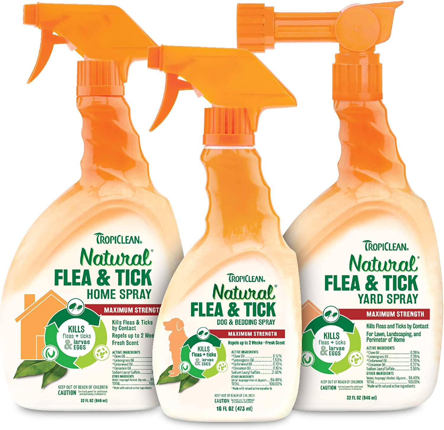 TropiClean Natural Flea & Tick Sprays & Powder for Dogs, Made in USA