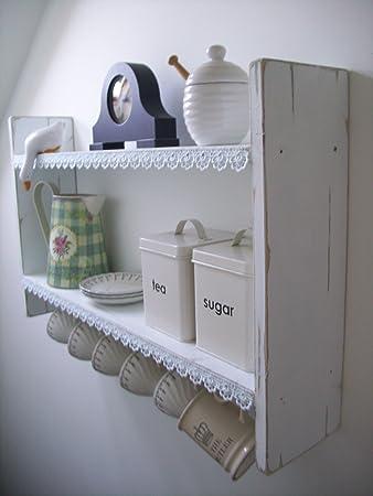 Wandregal küche shabby  woodiquechic Groß Breit 74 cm weiß Shabby Chic Regal mit Cup Haken ...