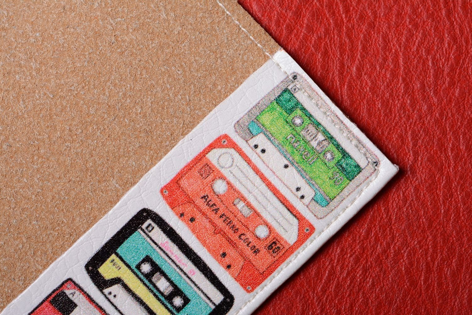 Unusual Handmade Leather Passport Cover With Bright Print