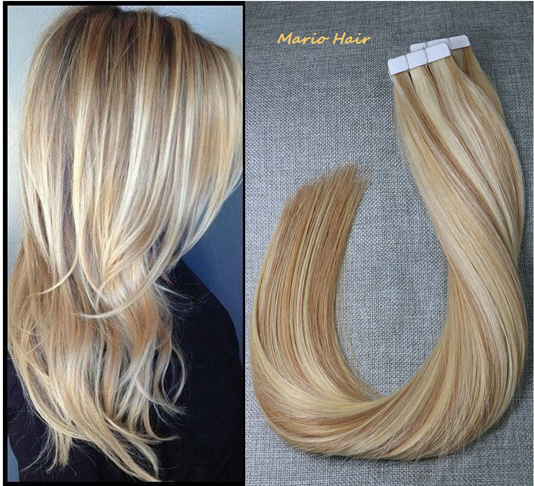 Low Cost Tape In Human Hair Extensions 20 Pieces 50g 12 Golden