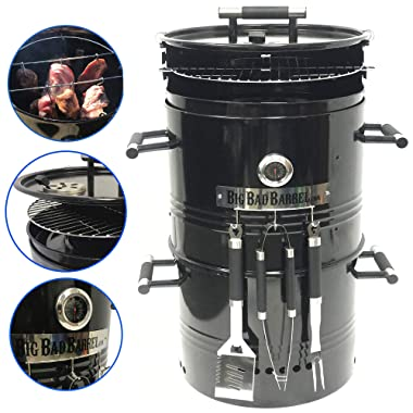 EasyGO Big Bad Barrel Pit Charcoal Barbeque 5 in 1 Can be Used as a Smoker Grill BBQ, Pizza Oven, Table & Fire Pit.18-Inch Diameter-3 pcs Tool, Set