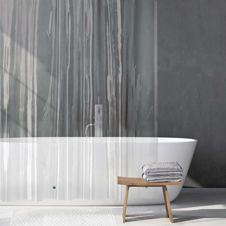 Cortina de baño de vinilo con imanes.  Medida 183x213cm y opción a otras medidas.