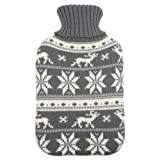 Large Hot Water Bottle With Removable Knitted Grey Reindeer Snow Design Cover