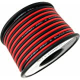 TYUMEN 40FT 18 Gauge 2pin 2 Color Red Black Cable Hookup Electrical Wire LED Strips Extension Wire 12V/24V DC Cable, 18AWG Flexible Wire Extension Cord for LED Ribbon Lamp Tape Lighting