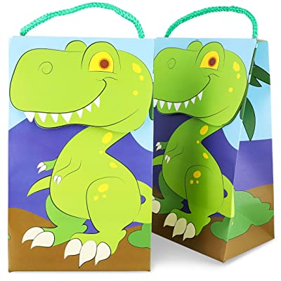 Juvale 15-Pack T-Rex Dinosaur Party Favor Bags for Dino Theme Birthdays, 9 x 5 x 3.5 Inches: Toys & Games