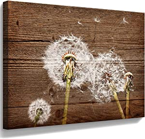 Canvas Art Vintage Picture Dandelion Wall Decal Simple Life Painting Rural Home Decoration Dandelion picture Nostalgic Brown Wooden Artwork Watercolor Frame Home Decor Bedroom Bathroom Wall art