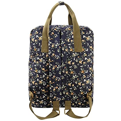 f1ea6af681 Micoop Waterproof Floral Backpack Handbag Travel School Bag for Girls and  Women (Black Blue L