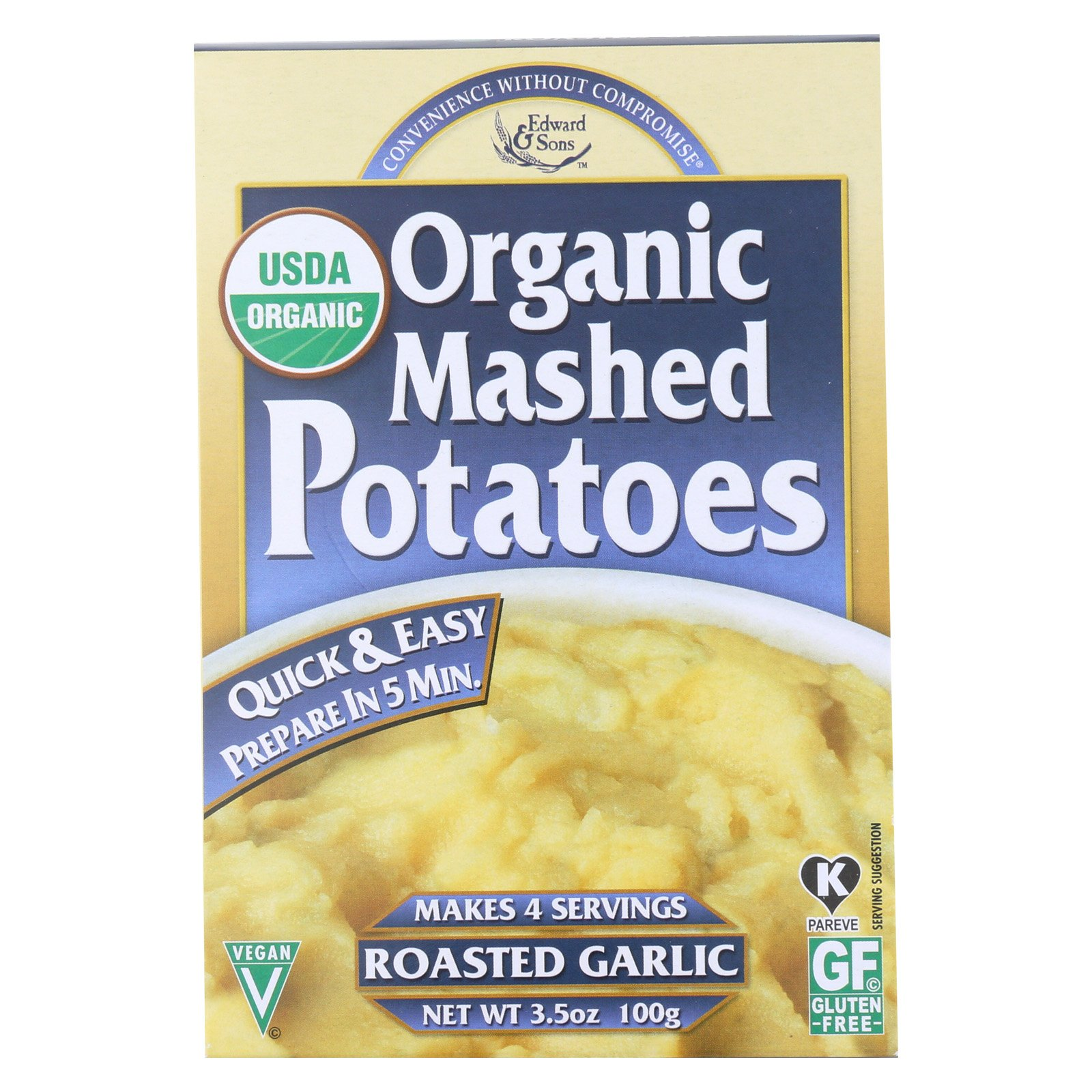 Edward and Sons Organic Mashed Potatoes - Roasted Garlic - Case of 6-3.5 oz.