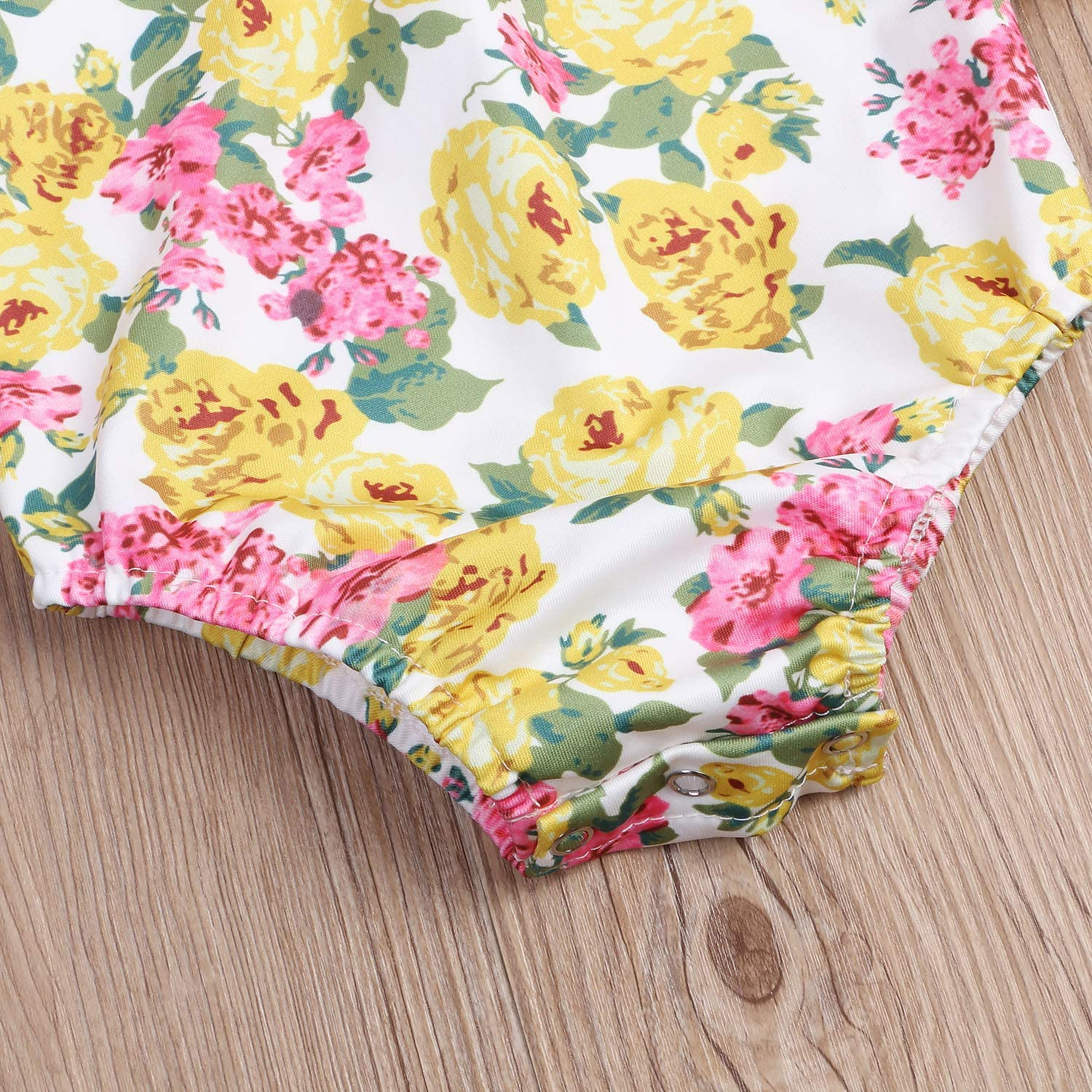 Baby Girls Floral Suspenders Skirts Set Long Sleeve Romper Yellow#2, 6-9 Months Yellow Skirts Outfits