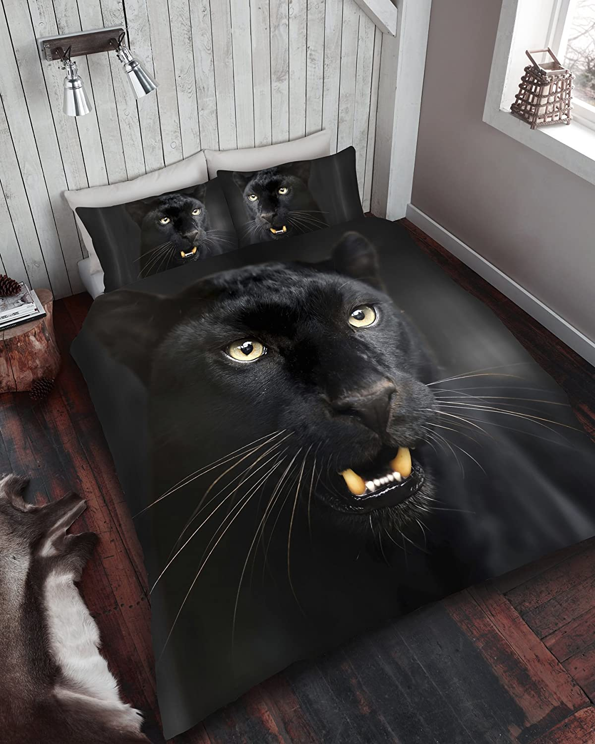 3D Animal Printed Duvet Cover, Quilt Cover Bedding Set single double king (Double, Black Panther) TOPSTYLE