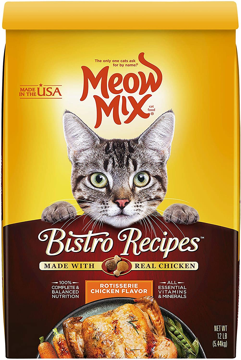Meow Mix Bistro Recipes Dry Cat Food, Rotisserie Chicken Flavor, 12 Pounds