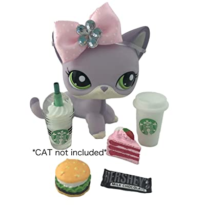 Littlest Pet Shop Accessories Clothes LPS Lot Candy Bow Cake Cheeseburger Coffee: Toys & Games