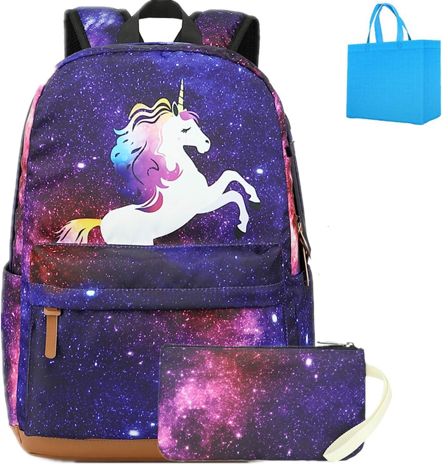 Galaxia Mochila Escolar Unicornio con Puerto de Carga USB Mochila Infantil Mochila Casual para Portátil para niños y niñas Adolescentes Morado (Morado)