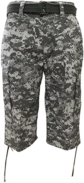 0c93c2e448 Regal Wear Mens Camouflage Cargo Shorts with Belt, Camo Digital Army, 32