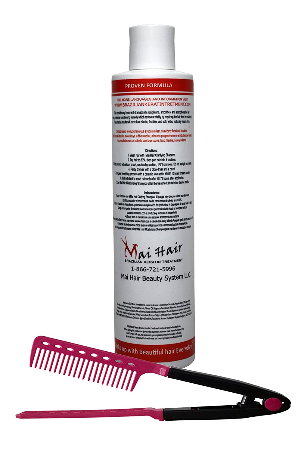Amazon.com : Professional Brazilian Keratin Hair Treatment For Instant results with Pomegranate and Argan Oil, Improved Formula/Professional Complex Blowout ...